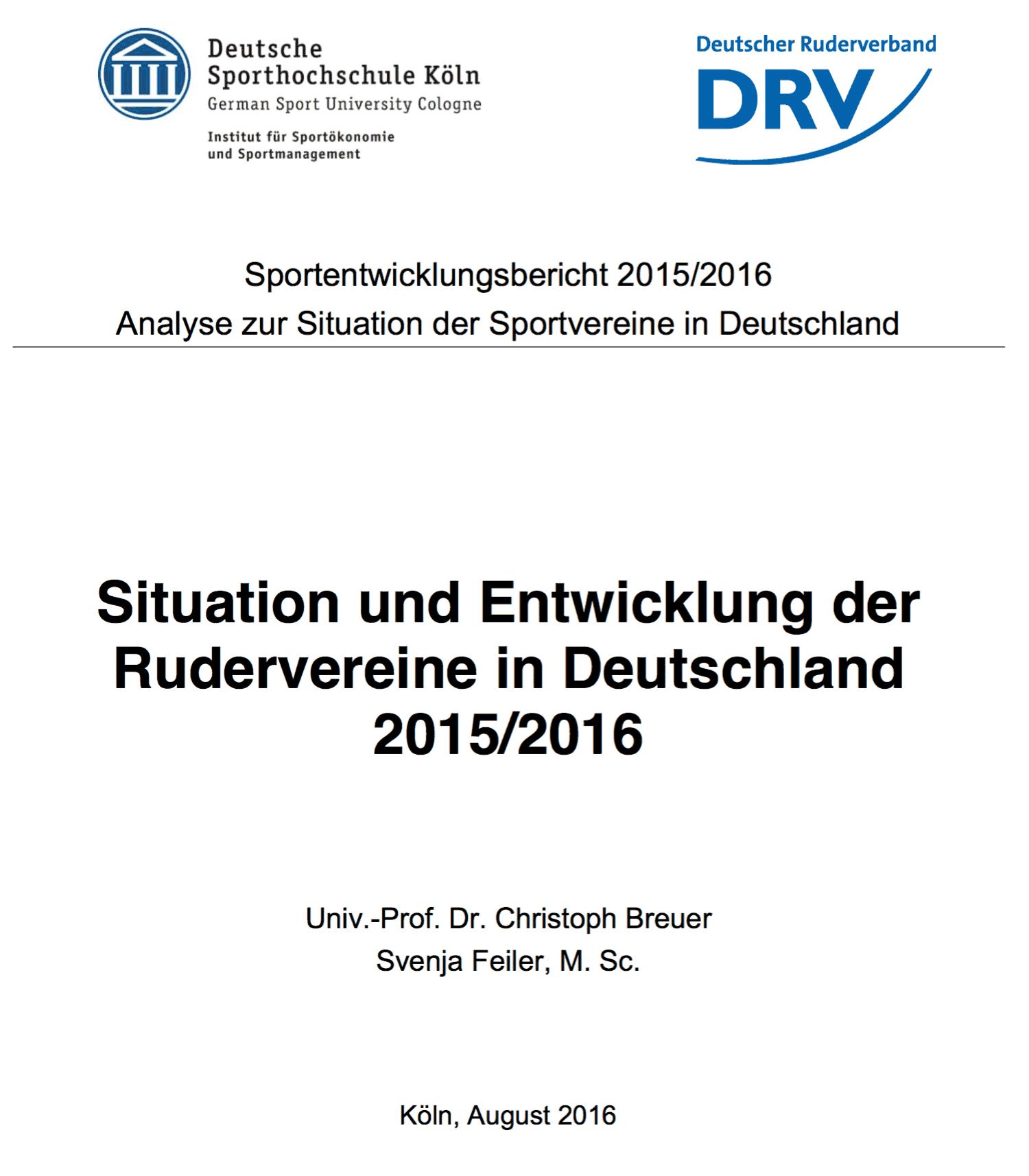 Situation und Entwicklung der Rudervereine in Deutschland 2015/2016